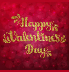 gold glitter lettering happy valentines day on vector image