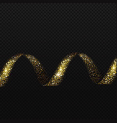 gold spiral trail glittering sparkling shiny helix vector image