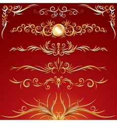golden ornamental elements vector image