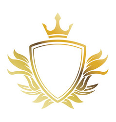 Golden shield crown heraldic luxury frame vector