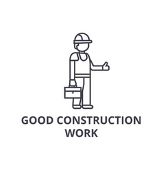 good construction work line icon sign vector image