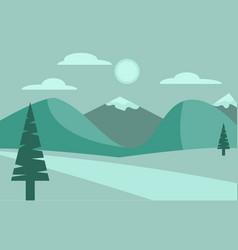 green peaceful landscape with mountains cloud vector image