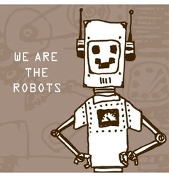 Hand draw robot on retro background Eps10 vector