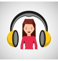 Headphones music character girl pink shirt vector