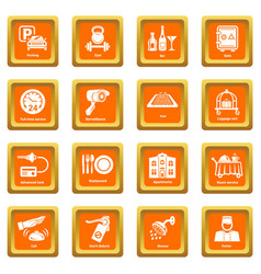 Hotel service icons set orange square vector