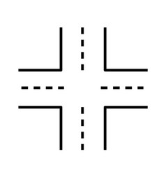 Intersection icon on white background linked road vector