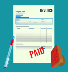 Invoice bill with red paid stamp close-up vector