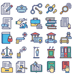 Justice and law isolated icons set every s vector