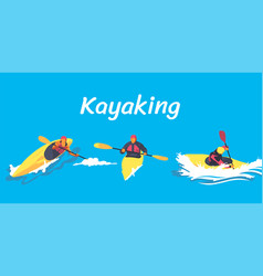 Kayaking set vector