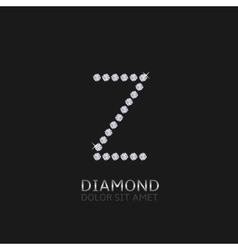 Letter Z with gemstones vector image