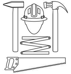 Line art black and white 5 handyman tools set vector