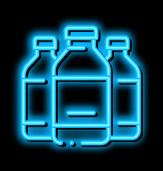Liquid bottles neon glow icon vector