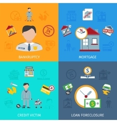 Loan Foreclosure Icons Set vector image