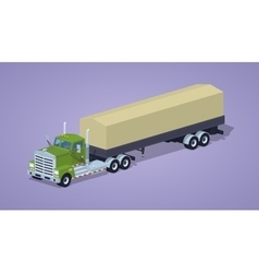 Low poly green heavy truck and trailer with the vector image