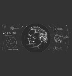 Magic card with astrology gemini zodiac sign vector