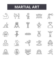 Martial art line icons signs set linear vector