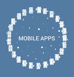 Mobile apps icon set infographic template vector