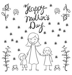 Mother day hand draw card vector