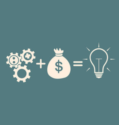 Motivation concept gears plus money idea vector