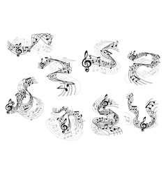 Musical notes and treble clefs on wavy staves vector