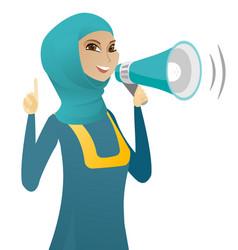 muslim business woman speaking into loudspeaker vector image