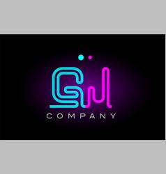Neon lights alphabet gj g j letter logo icon vector