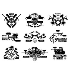 paintball badges sport shields with gun paint vector image