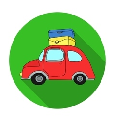 Red car with a luggage on the roof icon in flat vector