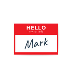 Red hello my name is label sticker on white vector