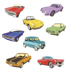 Retro autos white background vector