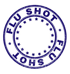 Scratched textured flu shot round stamp seal vector