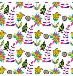 Seamless multicolored retro flower pattern vector image