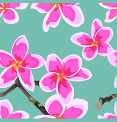 Seamless pattern with bright pink flowers vector