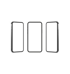 Set black mobile phones mockups isolated vector