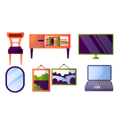 Set different furniture and interior home items vector