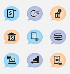 Set of 9 editable banking icons includes symbols vector