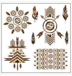 Set ornaments feathers arrow vector