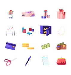 set shopping trolley with gift box discount vector image