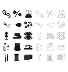 Sewing atelier blackoutline icons in set vector