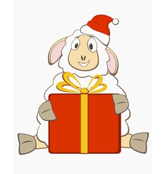 Sheep with gift box vector image