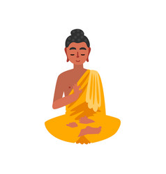 sitting buddha on a white vector image