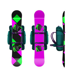 Snowboards with bindings and backpack vector