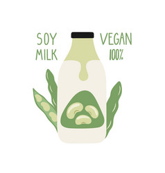 Soy milk in a cartoon bottle vegan milk vector