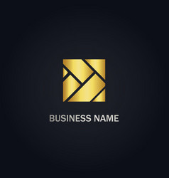 square shape abstract gold logo vector image