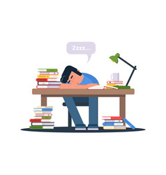 Student preparing for exams vector