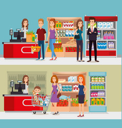 supermarket shelvings with people buying vector image