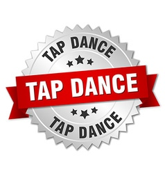Tap dance 3d silver badge with red ribbon vector