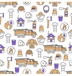 thin line art firefighter seamless pattern vector image