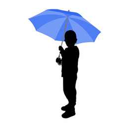 Toddler holding umbrella silhouette vector