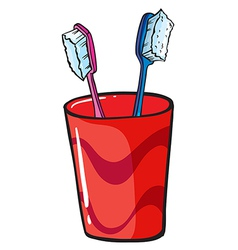 Toothbrush inside a red glass vector image vector image